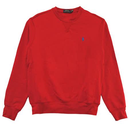 Ralph Lauren X車線領口縫線內刷毛大學男T (紅)