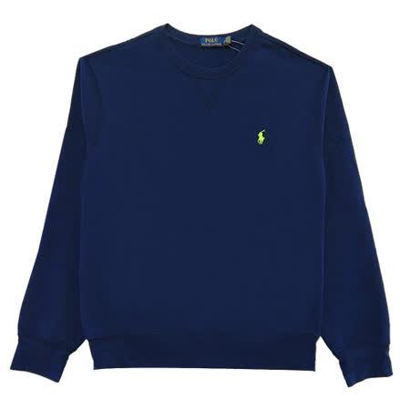 Ralph Lauren X車線領口縫線內刷毛大學男T (深藍)