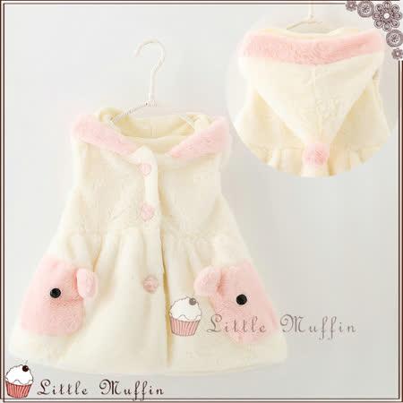 韓 童話風兔兔小尖帽收腰毛絨絨保暖連帽背心 鋪棉刷絨 白