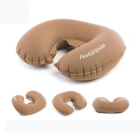 PUSH!旅遊用品飛機枕頭飛行頭枕U形枕旅遊睡枕頭輕便枕頭S45-1棕色