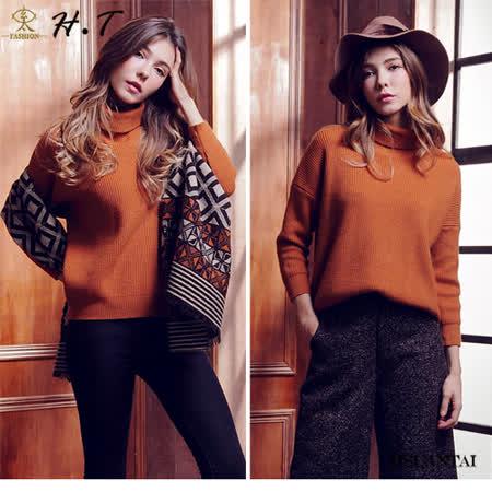 玄太-高領暖系造型袖純色毛衣(駝)