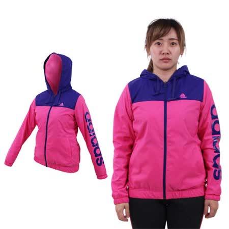 (女) ADIDAS 連帽風衣外套-保暖 刷毛 防風 愛迪達 桃紅紫