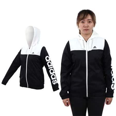 (女) ADIDAS 連帽風衣外套-保暖 刷毛 防風 愛迪達 黑白
