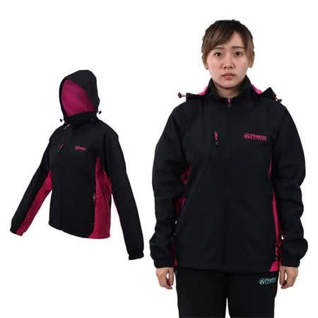 (女) FIRESTAR 防水防風磨毛裏夾克外套-保暖 登山 立領 連帽 黑桃紅
