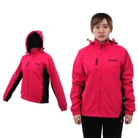(女) FIRESTAR 防水防風磨毛裏夾克外套-保暖 登山 立領 連帽 桃紅黑