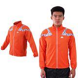 (男) KAPPA 單層風衣外套-防風 慢跑 路跑 立領 橘淺灰