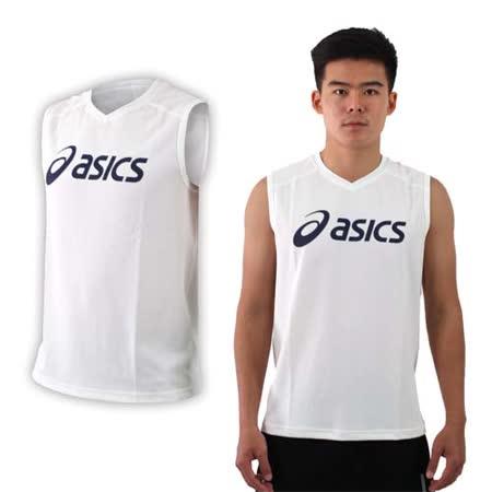 (男) ASICS 排羽球背心-排球 羽球 亞瑟士 白丈青