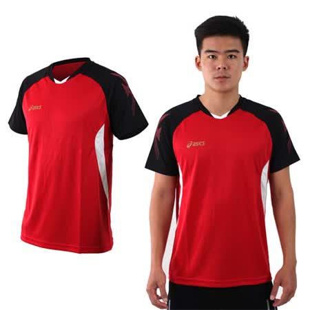 (男) ASICS 排羽球短袖T恤-排球 羽球 訓練 亞瑟士 紅黑白