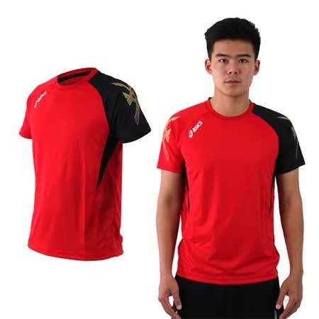 (男) ASICS 排羽球短袖T恤-排球 羽球 訓練 亞瑟士 紅黑金