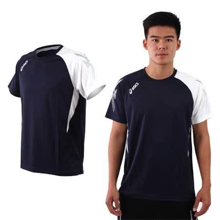 (男) ASICS 排羽球短袖T恤-排球 羽球 訓練 亞瑟士 丈青白