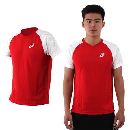 (男) ASICS 排羽球短袖T恤-訓練 排球 羽球 亞瑟士 紅白銀