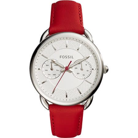 FOSSIL Tailor 優雅時代日曆女錶-銀x紅/34mm ES4122