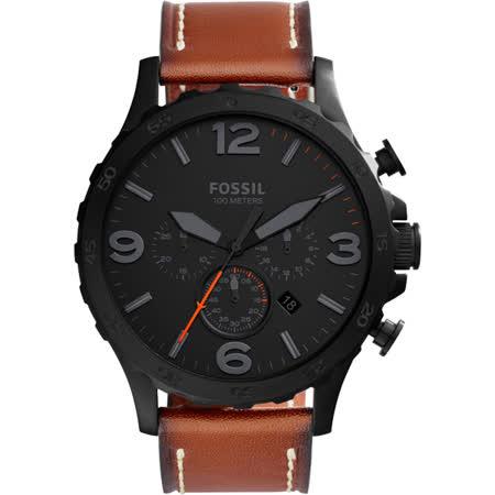 FOSSIL Nate 世紀戰神三眼計時腕錶-黑x咖啡/50mm JR1524