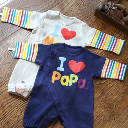 日本 西松屋 我愛爸爸媽媽彩虹連身包屁衣 藍色 原裝進口
