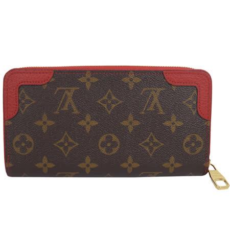 Louis Vuitton LV M61854 M61187 Zippy Retiro 經典花紋拉鍊長夾.紅邊 現貨