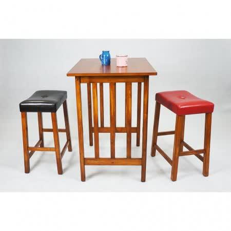 【優力格家具】北歐風情胡桃休閒一桌二椅/吧檯桌椅/吧台桌椅組/高腳桌/高腳椅/餐桌