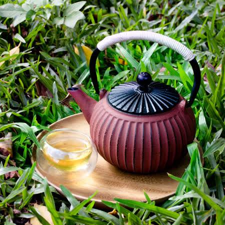 【Homely Zakka】禪茶一味日式朱紅直紋柿型鑄鐵壼/煮茶壼(朱紅580ml)