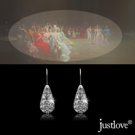 【justlove璀璨配飾】晶鑽0.05克拉34顆開運施華洛世奇垂墜勾式針式水滴型耳環(ER-0003)