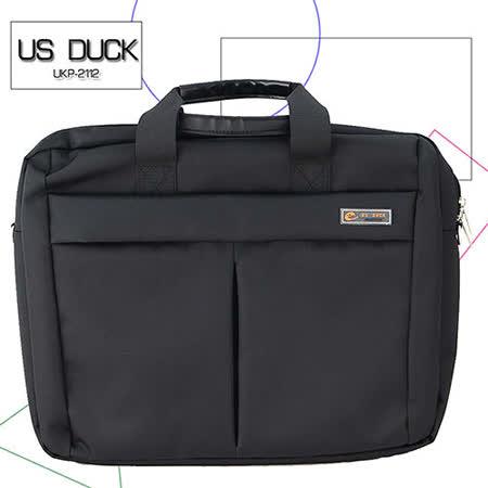 【US DUCK】 時尚黑 尼龍電腦公事包UKP-2112(筆電防震設計)