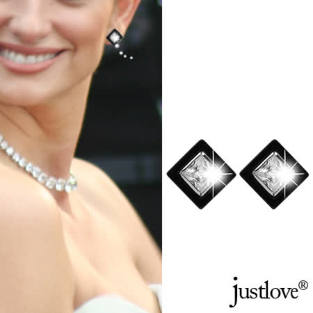 【justlove璀璨配飾】3克拉鋯石黑鈦鋼典雅針式百搭耳環(黑 ER-0019)