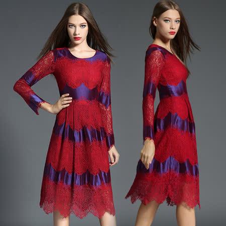 【歐風KEITH-WILL】歐美蕾絲搖曳七分袖洋裝