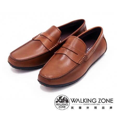 WALKING ZONE 真皮直套式休閒男皮鞋-棕(另有黑)