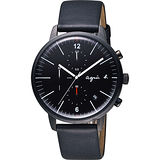 agnes b 法式時尚計時套錶組-黑/40mm VD57-KS30C(BM3015X1)
