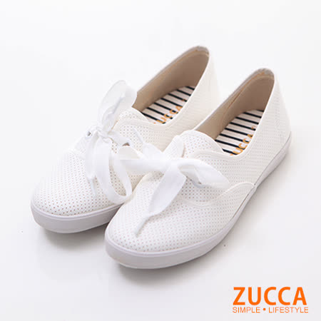 ZUCCA【Z6013WE】日系大朵結條紋平底鞋-白色