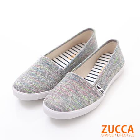 ZUCCA【Z6015GY】繽紛色彩條紋平底鞋-灰色