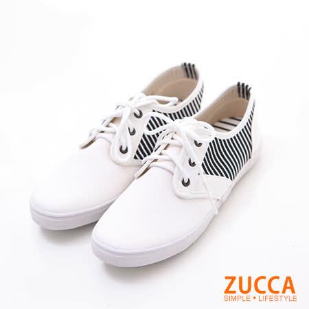 ZUCCA【Z6016WE】經典線紋繫帶休閒鞋-白色