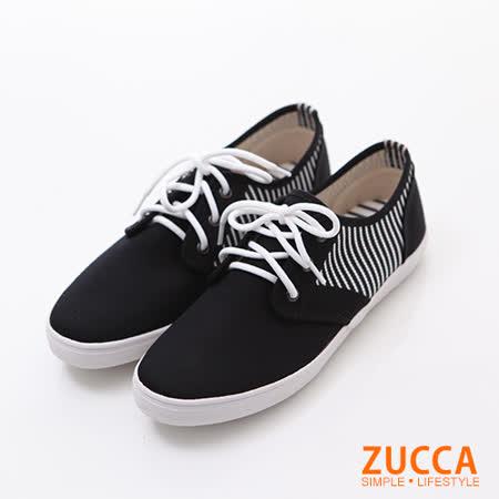 ZUCCA【Z6016BK】經典線紋繫帶休閒鞋-黑色