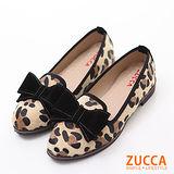 ZUCCA【Z6017CL】日系豹紋朵結平底鞋-駝色