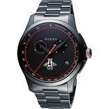 GUCCI G-Timeless 古馳蜜蜂小秒針計時腕錶-IP黑/44mm YA126269