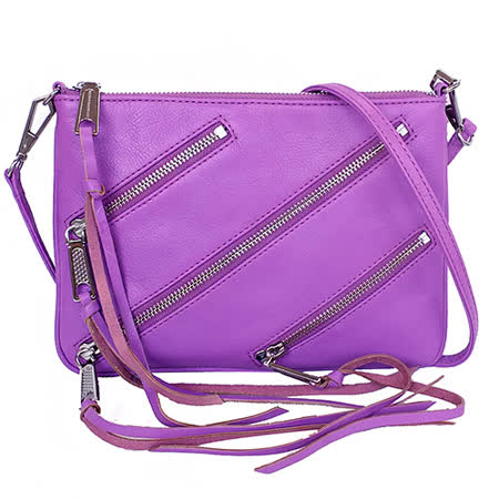 Rebecca Minkoff MOTO ROCKER紫色扁形手拿/斜背包