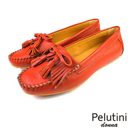 【Pelutini】donna淺口流蘇豆豆鞋 紅棕(9046W-DBR)