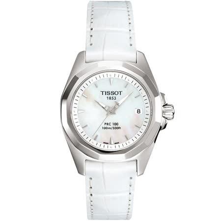 TISSOT PRC100 純白閃耀經典女錶-珍珠貝/29.7x28mm T0080101611100