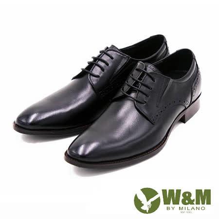 W&M 尖頭休閒鞋時尚素面皮鞋 男鞋-黑