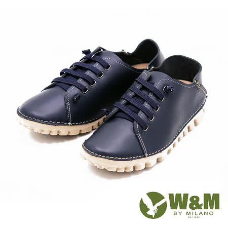 W&M 樂活經典綁帶圓頭平底麵包鞋休閒鞋 男鞋-藍(另有棕)