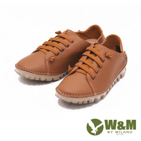 W&M 樂活經典綁帶圓頭平底麵包鞋休閒鞋 男鞋-棕(另有藍)