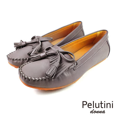 【Pelutini】donna淺口流蘇豆豆鞋 深灰(9046W-DGY)