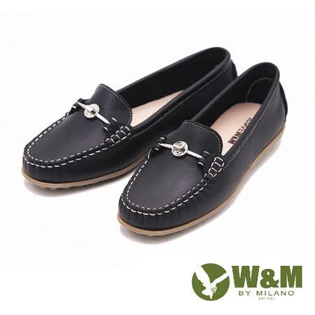 W&M 舒壓耐走全真牛皮金屬釦環莫卡辛平底鞋 女鞋-黑(另有米)