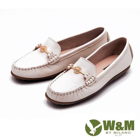 W&M 舒壓耐走全真牛皮金屬釦環莫卡辛平底鞋 女鞋-米(另有黑)