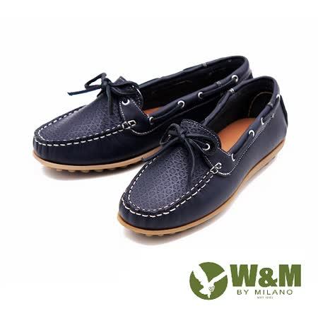 W&M 經典復刻全真皮莫卡辛豆豆鞋 女鞋-藍(另有灰)
