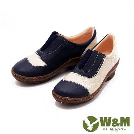 W&M 獨家配色 楔形跟休閒女鞋-藍(另有棕)