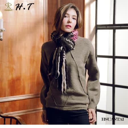 玄太-簡約寬鬆造型織紋圓領毛衣(墨綠)