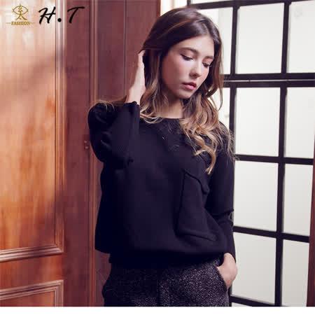 玄太-柔感造型袖腰部抽繩針織上衣(黑)