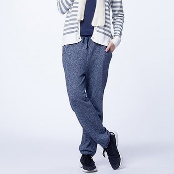 雙色花織縮口褲-深藍(M~XL)