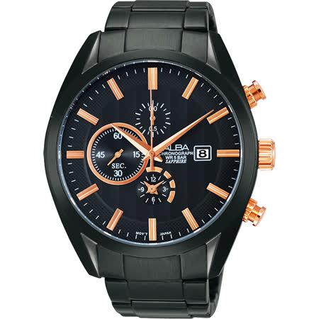 ALBA 領先菁英三眼計時腕錶-玫瑰金x黑/44mm YM92-X262K(AF8T83X1)