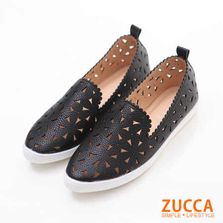 ZUCCA【Z6021BK】編織縷空三角平底鞋-黑色