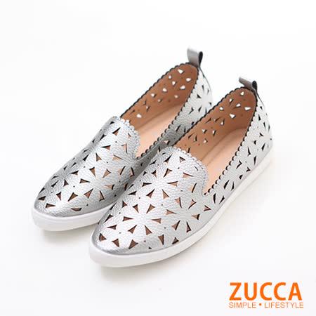 ZUCCA【Z6021GY】編織縷空三角平底鞋-灰色
